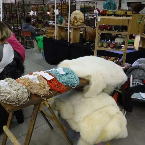 dyed yarn, sheepskins